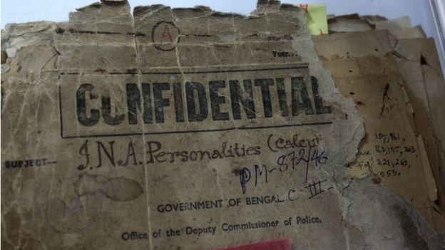 A confidential file on Indian nationalist and prominent figure of the Indian independence movement Netaji Subhash