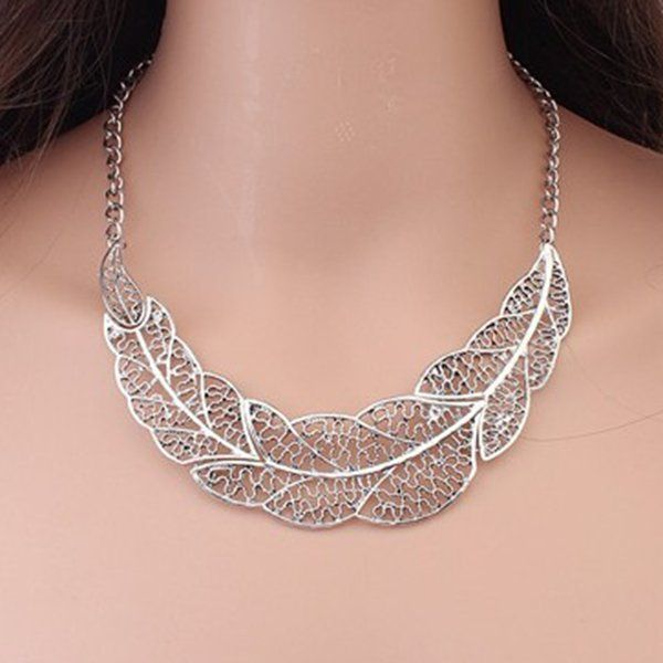 Sale 19% (3.34$) - Vintage Silver Hollow Leaf Statement Collar Chain Pendant