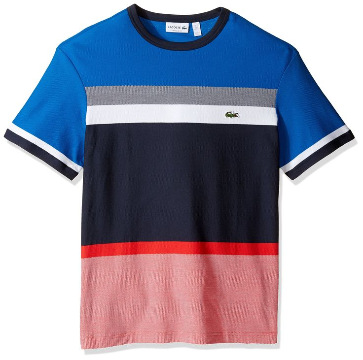 Lacoste Men's Honey Comb Engineered Stripe T-Shirt, TH1928-51, Sapphire Blue/Abyssal Blue-Multico, 5