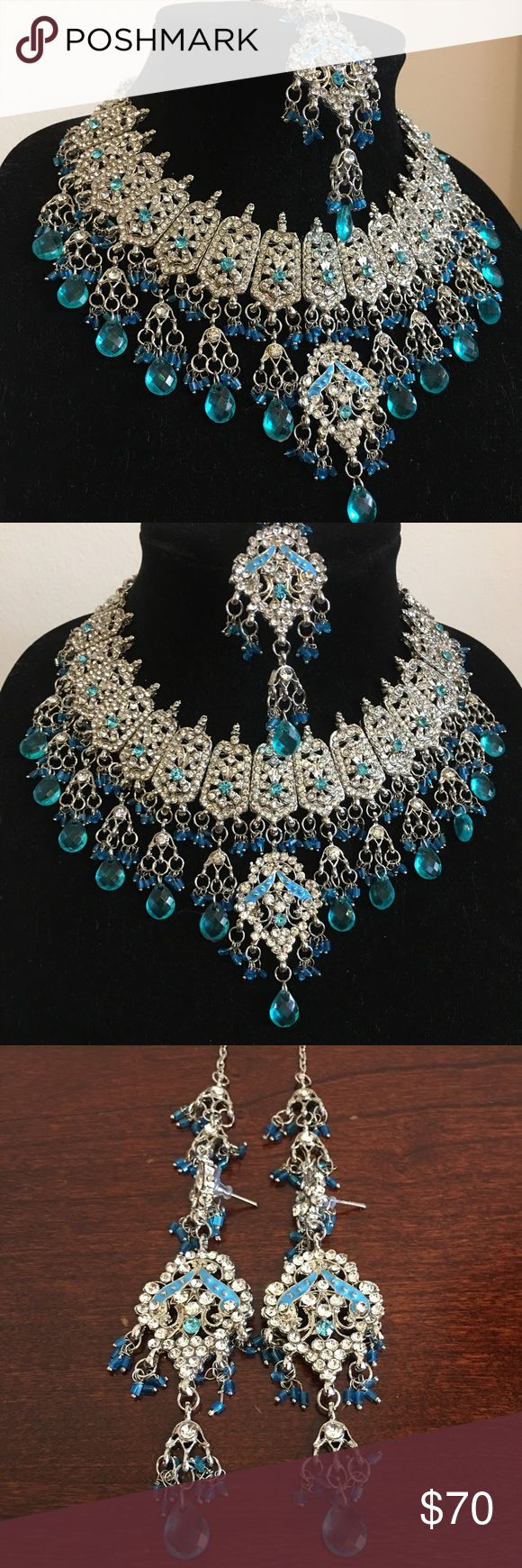 Indian/Pakistani Jewelry Brand New Bollywood Inspired Jewelry Set-  Necklace, earrings, and a head piece (tikka)   #fashion #indian #pakistani #bollywood #jewelry #necklace #earrings Jewelry Earrings