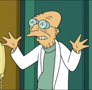 "Professor Fransworth from Futurama spouting his catch phrase ""Good news everyone!"""