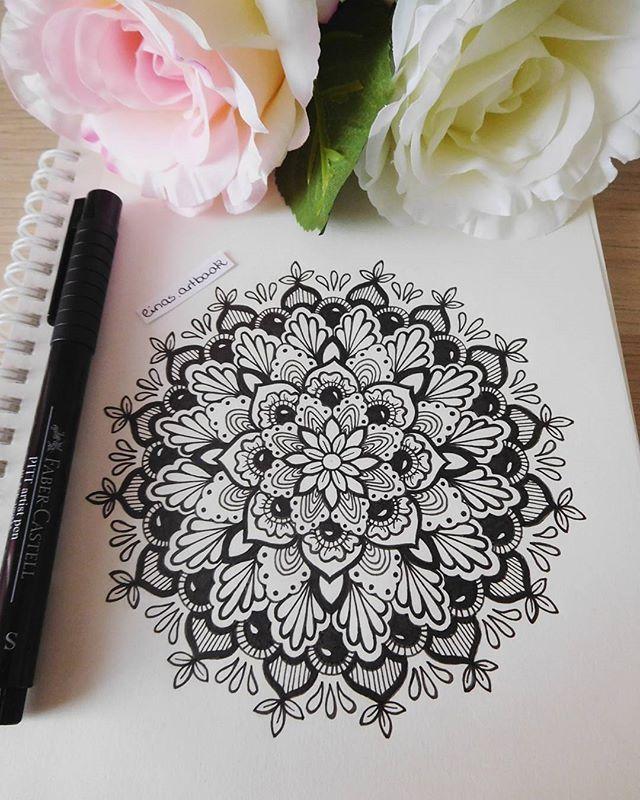 Pretty mandala sketch artwork – black and white