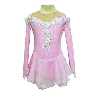 Dumb Light Spandex Elasticated Net Silk Flowers Figure Skating Clothing Pink – USD $ 61.74