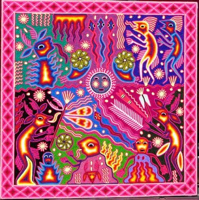 The Nierika is a form of spiritual art used by the Huicholes, a native population of the Western Central Mexico. These ritual artefacts consist in pieces of colored yarn glued with wax to round or square backings.