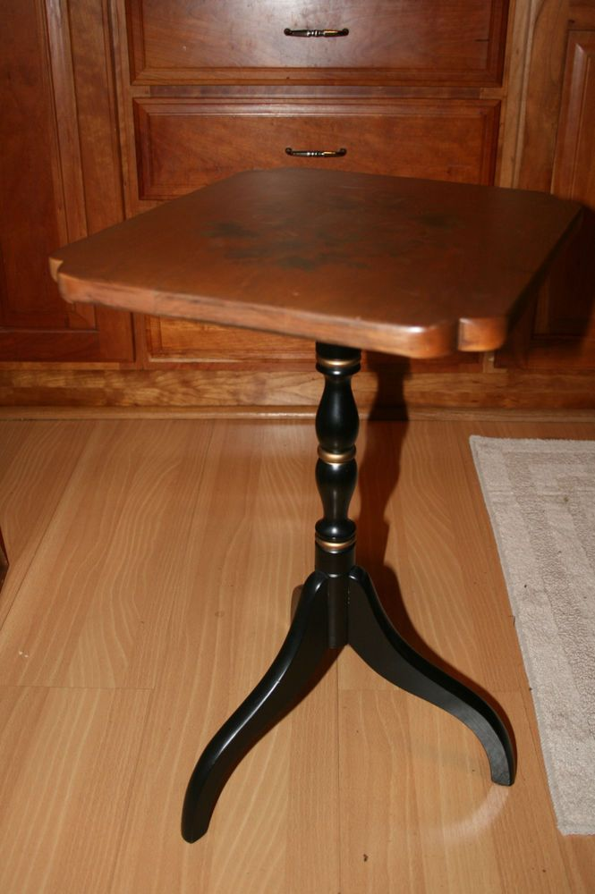 L Hitchcock Decorated Stenciled Lamp End Table Pedestal Plant Stand   EBay