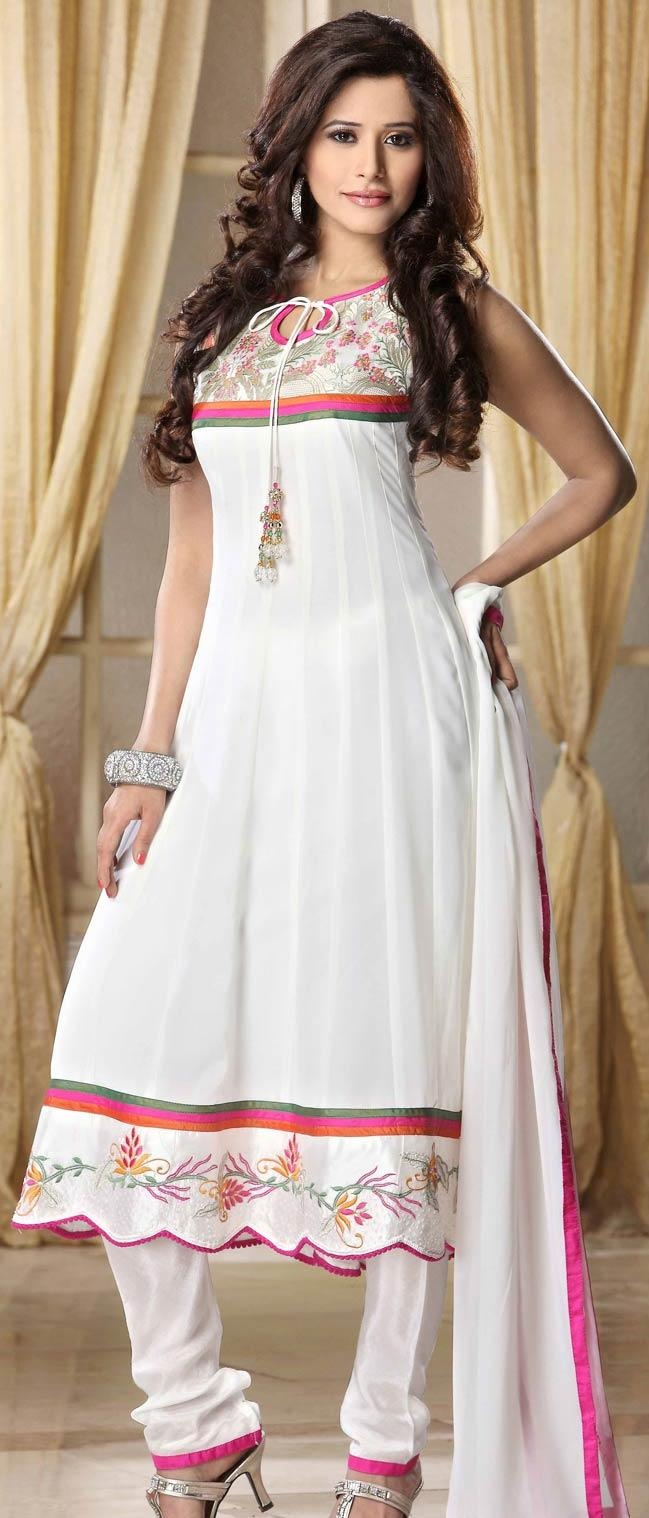 White Faux Georgette Flared Churidar Kameez @ US $113.34 | Shop Here: http://www.utsavfashion.com/store/sarees-large.aspx?icode=krf7