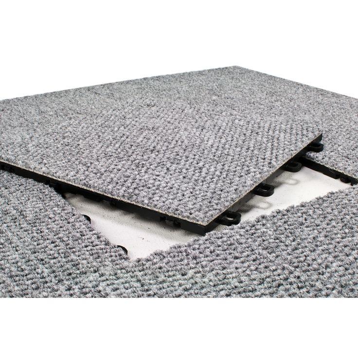 "BlockTile 12"" x 12""  Premium Interlocking Basement Floor Carpet Tile in Gray"