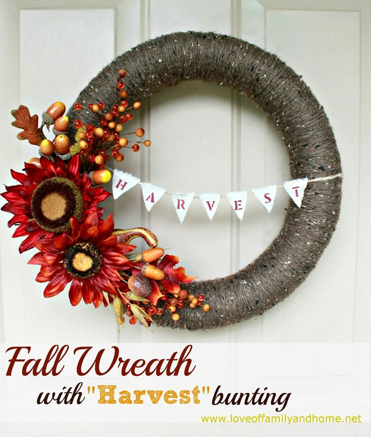 Fall Wreath With Harvest Bunting {Pool Noodle Wreath} tutorial @Tonya @ Love of Family & Home