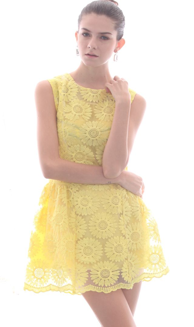 Yellow Sleeveless Sunflower Embroidered A-line Dress
