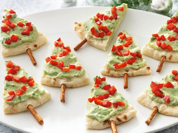 Pita Tree Appetizers - Plant a forest of pita bread trees on your table in less than 30 minutes by topping wedges with store-bought guacamole, pimentos on a pretzel stick.