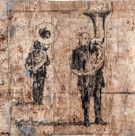 Suonatori di trombone, 2013  mixed medium on paper, cm 100x100