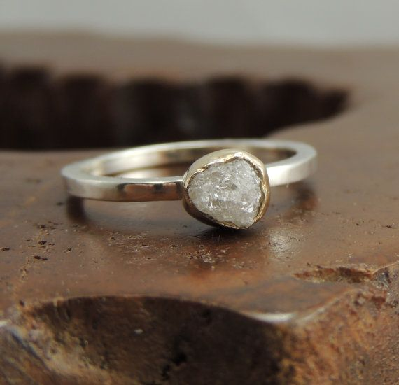 White Uncut Diamond Engagement Ring 14k Gold by PointNoPointStudio