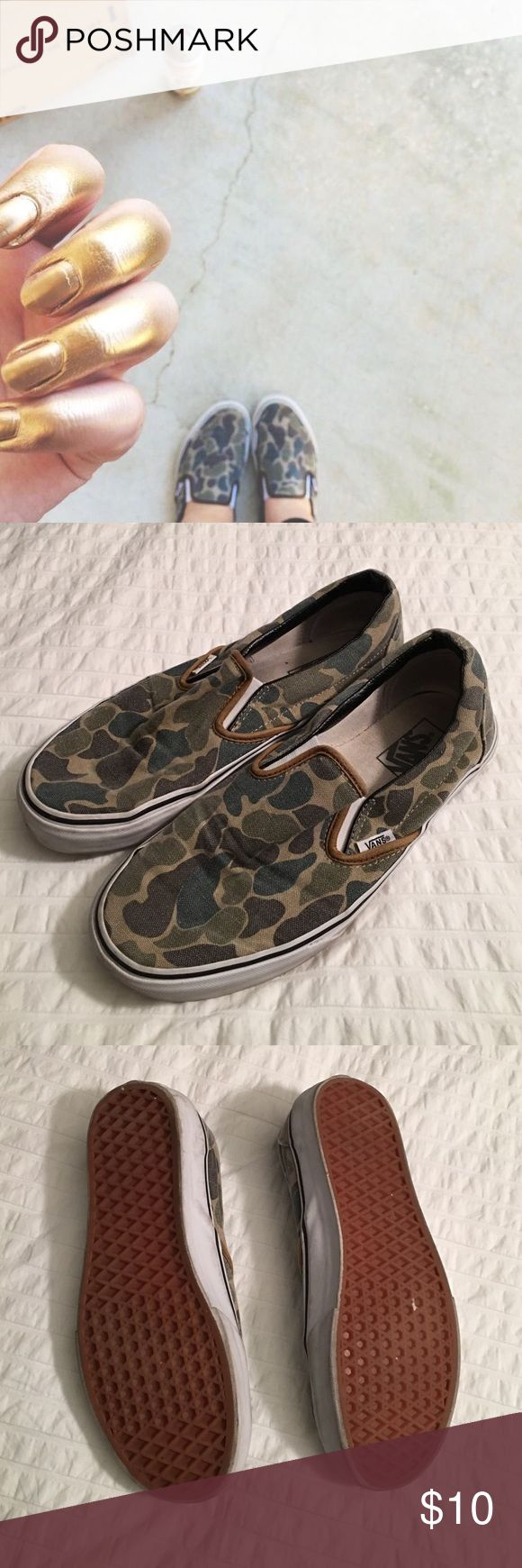 Vans camo slip ons Great condition vans. Leather trim on the inside of the heel. I'm a true 9.5 but sized up to a 10 for the width since it's a slip on Vans Shoes Sneakers