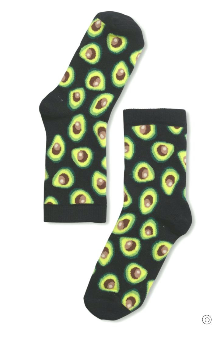 Ladies//Girls Bright Red With Avocados On Cotton Trainer Socks
