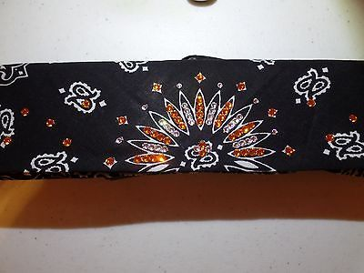 Biker Motorcycle Bandana Headband Orange Harley Swarovski Bling Chemo Cancer Hat