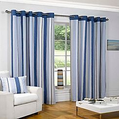 Sundour - Padstow Blue Lined Eyelet Curtains