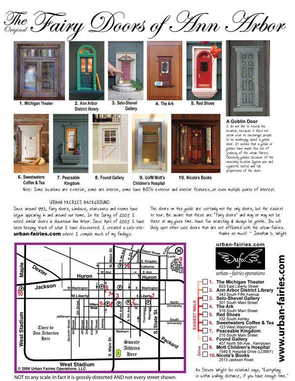 Urban Fairies fairy doors Locations TOUR MAP-ANN ARBOR