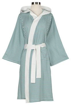 Knee-Length Striped Jersey Knit Robe, White/Teal contemporary-bath-and-spa-accessories