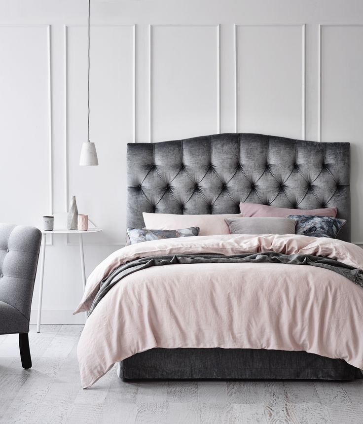 Pink And Grey Upholstered Bedheadsdiy Tuffed Headboardvelvet Tufted Headboardbed Headboard Designheadboards