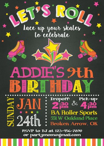 Roller Skating Party Invitation  80s Retro by ThePartyDarlingLLC