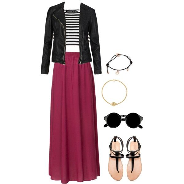 outfit with burgundy maxi skirt by whatsuplove on Polyvore