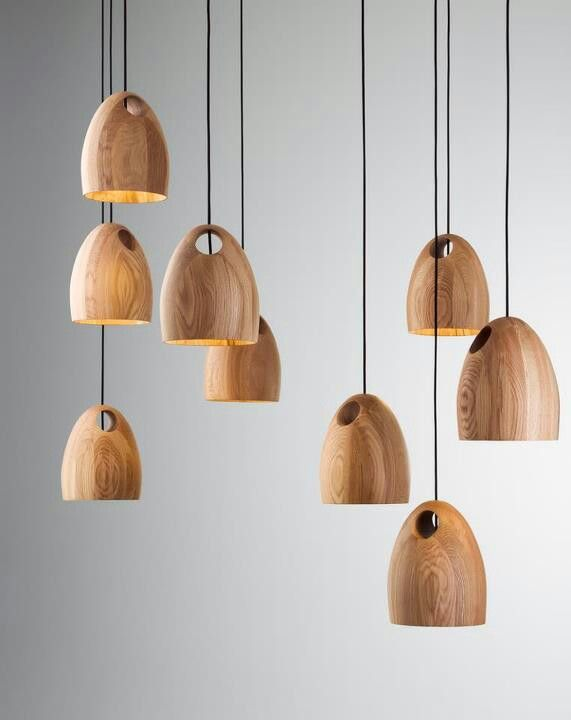 Oak pendant | Ross Gardam Wooden pendants are really on trend at the moment , great way to repurpose old timber and create something modern and funky!