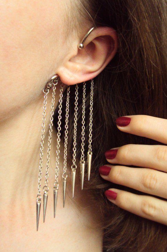 3456dd3e3 Spike Chain Earcuff Non Pierced Earrings Long Chain Earcuff Dangle Ear Cuff  Under Ear Unusual Jewelr