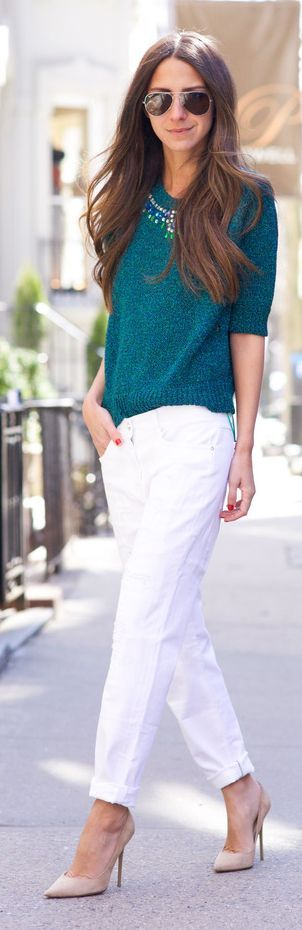 Teal And White Outfit Idea by SOMETHING NAVY