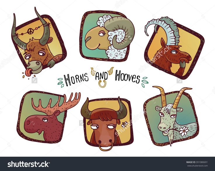 Horns & Hooves - A Set Of Six Little Illustrations Of Funny Cartoon Horned Animals. Isolated On White. - 391080691 : Shutterstock