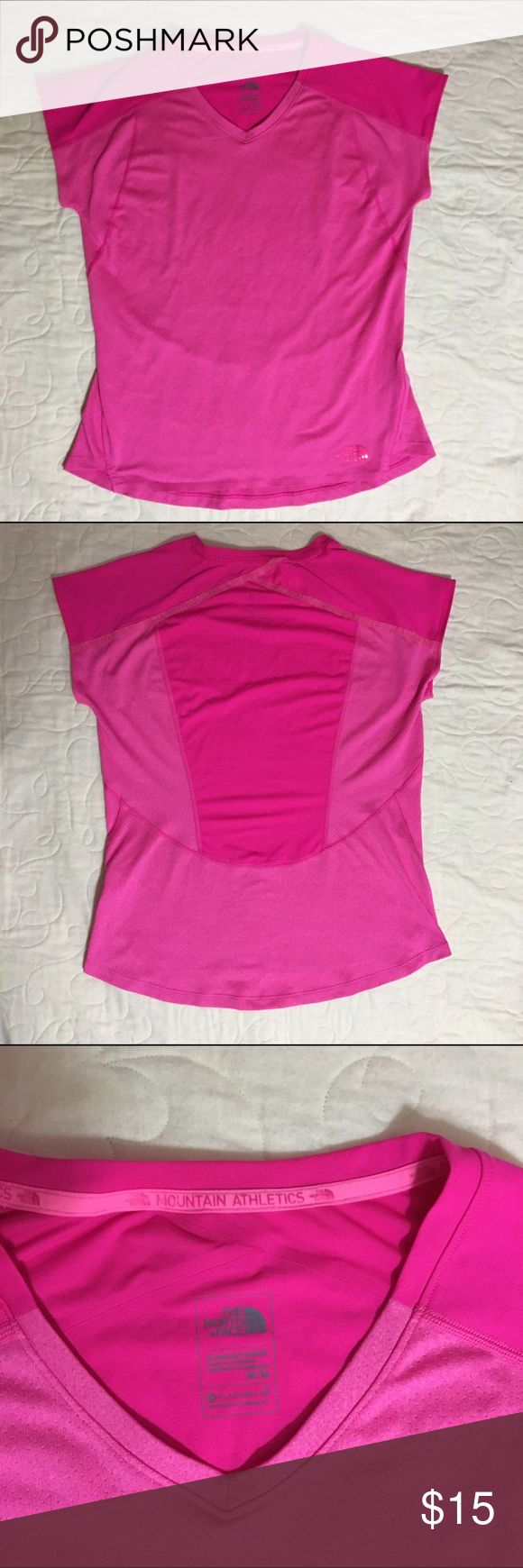 North Face Hot Pink Vented Athletic Top Hot pink north face workout top in great condition. Short sleeved and vented in Medium North Face Tops Tees - Short Sleeve