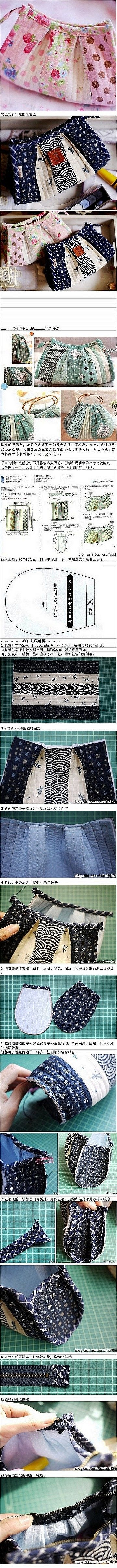 pleated zip pouch...with sewn in sides instead of box corners