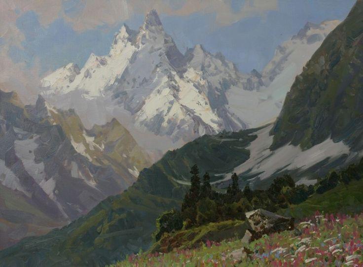 Aleksander Babich Summer in the Mountains (Peak Ine) - Painting,  60x80 cm ©2014 по Aleksander Babich -  Картина
