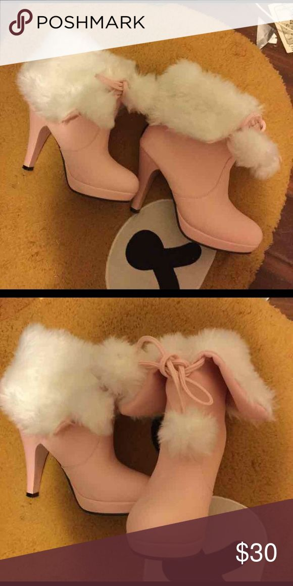 Cute pink fur ankle boots Pink ankle boots with pom pom! Lolita style Shoes Ankle Boots & Booties