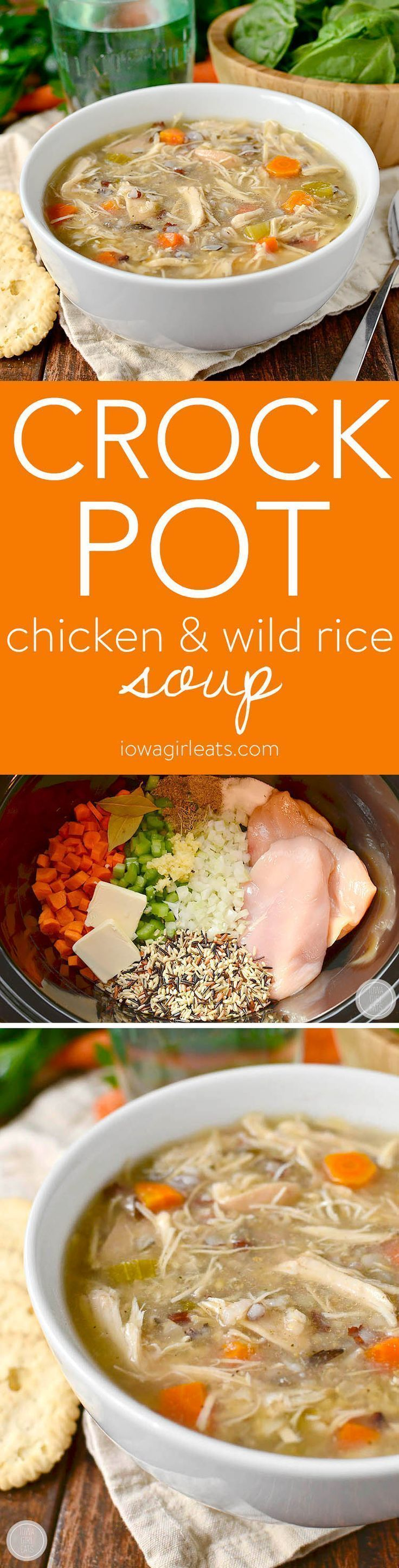 Crock Pot Chicken and Wild Rice Soup is a healthy, quick and easy crock pot recipe for busy nights. Simply add the ingredients into the crock then push on! | iowagirleats.com