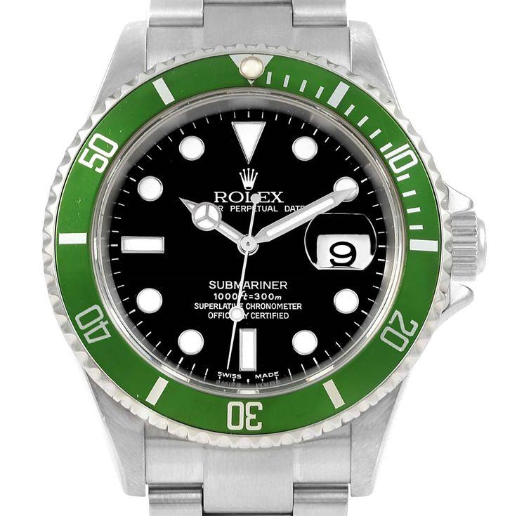 16113 Rolex Submariner Green Bezel 50th Anniversary Flat 4 Watch 16610LV SwissWatchExpo