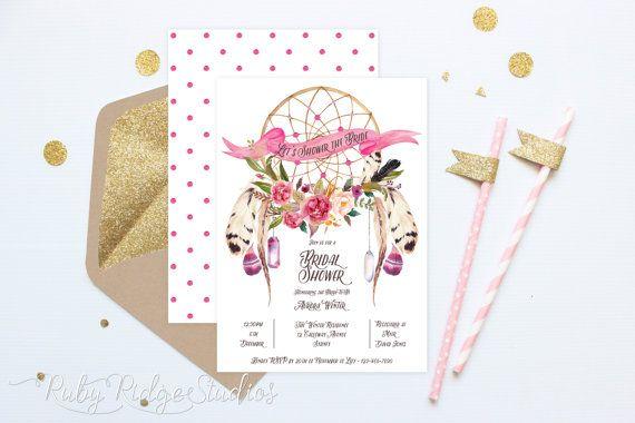 Printable Bridal Shower Invitation, Bohemian Watercolor Floral Dreamcatcher, Hens Party, Kitchen Tea, DIY Printable Invitations