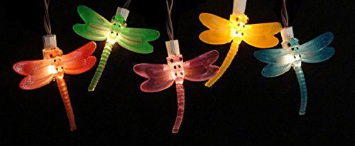Felices Pascuas Collection Set of 10 Battery Operated LED Dragonfly Garden Patio Umbrella Lights with Timer