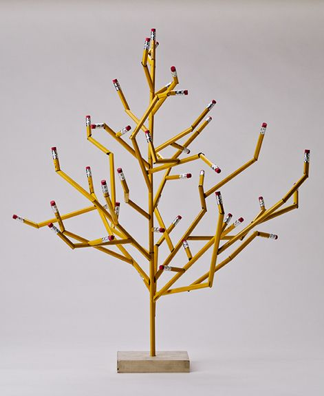 "Recycle Art - Pencil Tree - could be cute teacher Christmas gift with ""ornaments"" made by the kids."