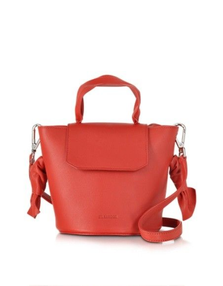 JIL SANDER SCARF TOP SMALL OPEN RED LEATHER CROSSBODY BAG