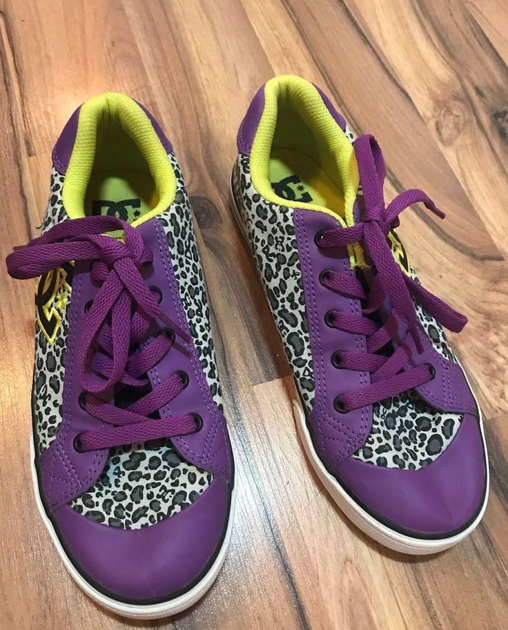 DC Purple Animal Print Sneakers Sz 6 Youth Shoes Girls  | eBay