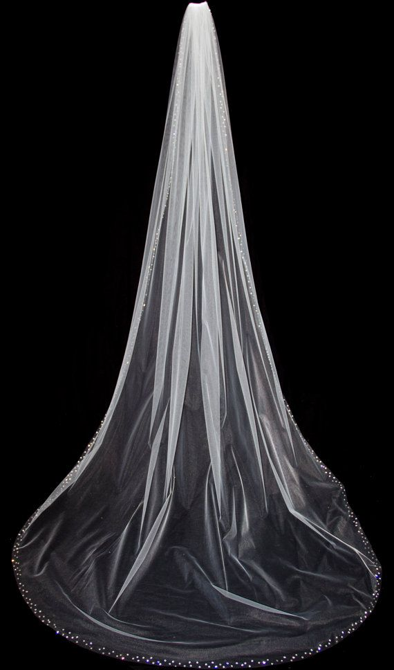White and Gold Wedding Veil. Wedding Veil with Crystal Edge Cathedral Length by pureblooms, $185.00