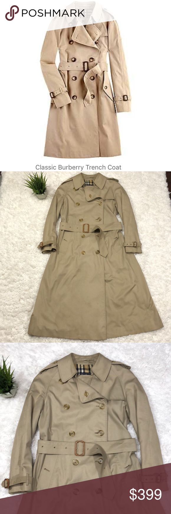 Burberry classic trench coat Beautiful classic Burberry plaid lined khaki trench coat. All buttons intact. Minor wear as shown in last pic of the belt buckles on sleeves. Length is 45 inches. Over all condition is very good. Burberry Jackets & Coats Trench Coats