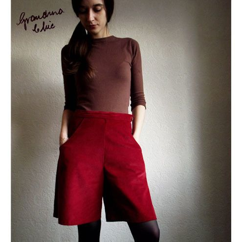 Red cord shorts by Grandma Chic £32.00