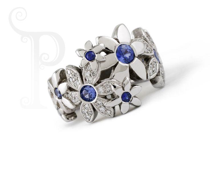 Handmade 18ct White Gold Catherine Daisy Rings, set With Diamonds & Sapphires