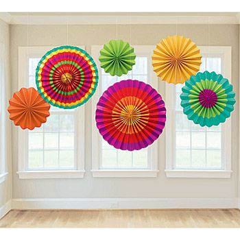 Bold and festive Fiesta Paper Fan Decorations is what your Cinco de Mayo party deserves. This set of Fiesta Hanging Paper Fans contains an assortment of vibrant colors.