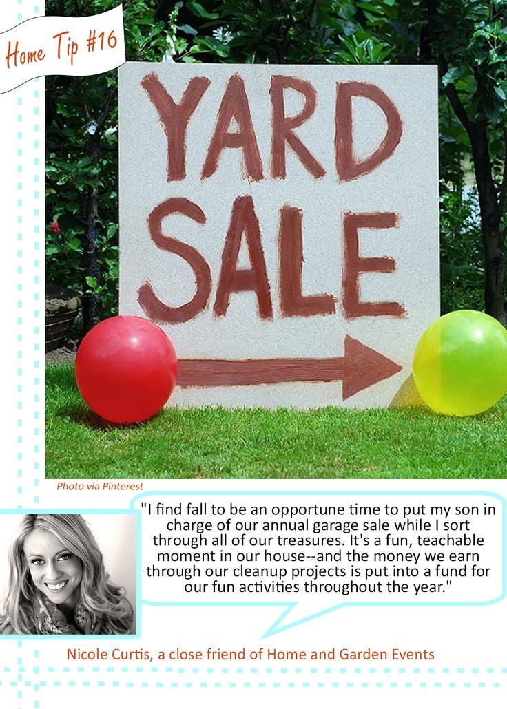 Home Money Tip by Nicole Curtis #YardSale #Save #Garage #Sale