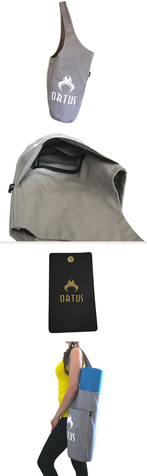 Premium Yoga Mat Bag by ORTUS, Cotton Yoga Exercise Mat Tote Bags Sling Carrier With Large Side Pocket & Zipper Pocket, Large & Fitting All Standard Size Yoga Mats & Yoga Accessories (GRAY)