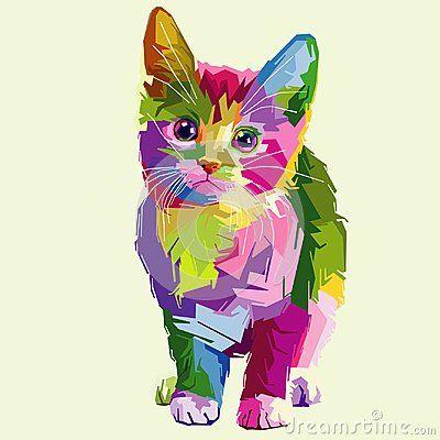 Cute cat fulcolor vector pop art artwork pet cartoon animal animals wallpaper clip