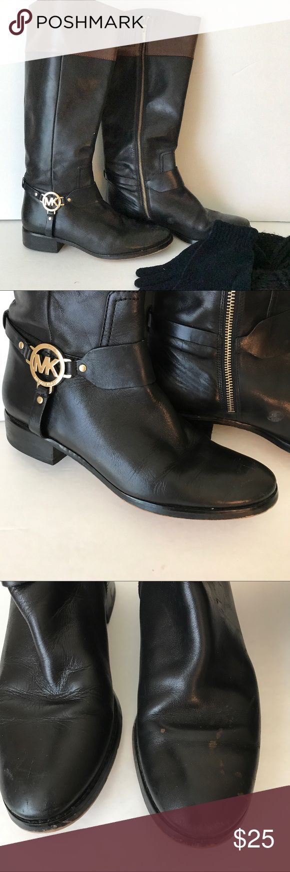 Striking black and brown MK boots, 7 1/2 These Striking black and brown MK boots are a wardrobe essential.  If you don't have a pair, you won't find them anywhere less expensive and you need them!  Preowned but in excellent condition with only slight wear on toes.  Size7 1/2 .  Proceeds from this closet support Project Hope, a ministry to homeless single moms. Michael Kors Shoes