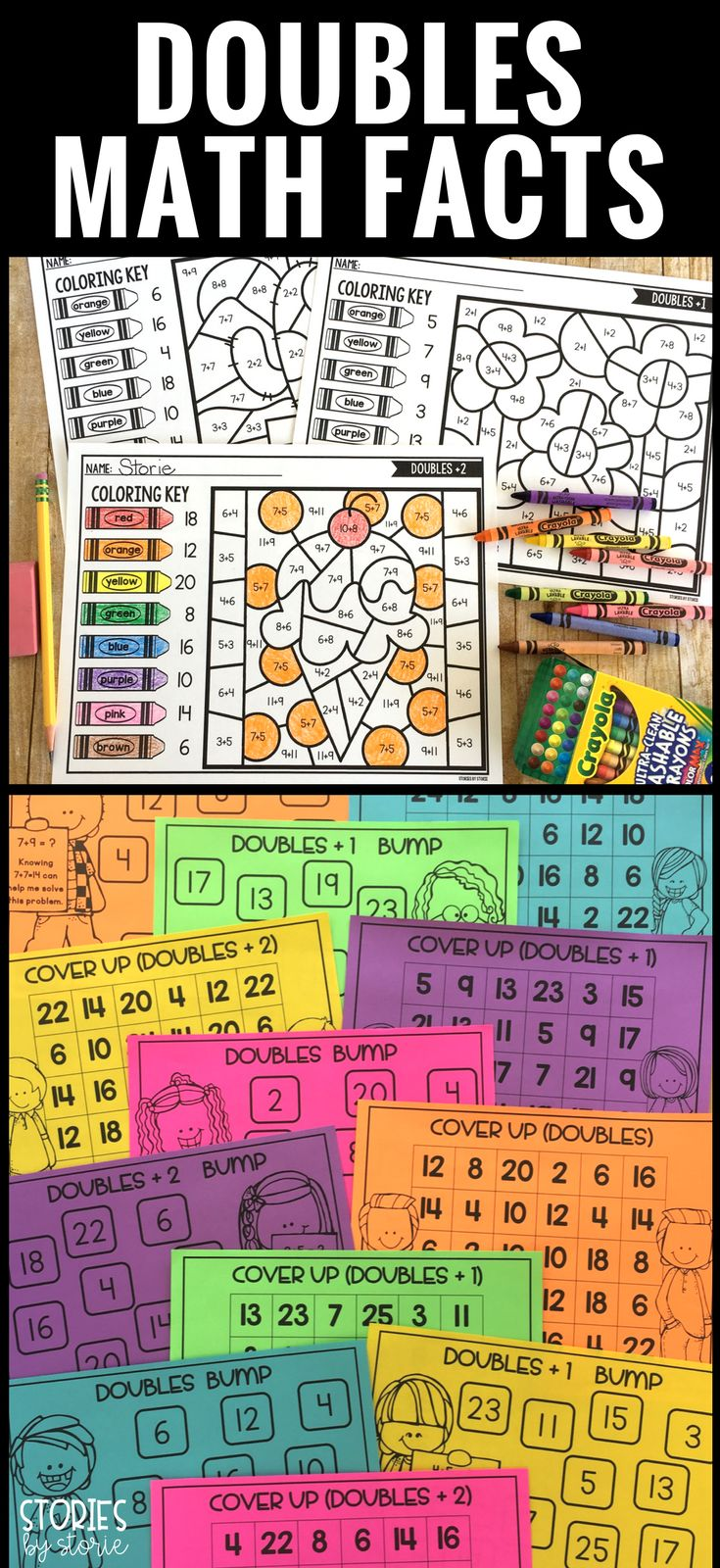 Looking for a fun way to practice doubles facts? Take a look at these games! Students will get the practice they need while having fun. Included are three games for doubles facts, three games for doubles + 1 facts, and three games for doubles + 2 packs. There are also anchor charts, practice pages, and color by number pages. #mathgames